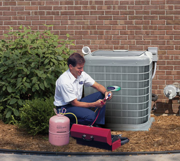 HVAC contractor checking the system
